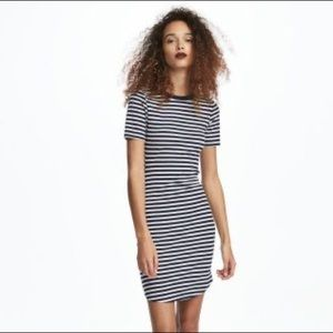H&M black and white striped ribbed dress